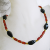 """Black Red Mystic"" Karneol Onyx Kette vergoldet"