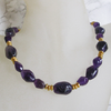 """Dark Purple Gold"" Amethyst Nugget Collier Silber vergoldet"
