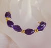 """Dark Purple Gold"" Amethyst Nugget Armband Silber vergoldet"