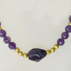 """Dark Purple Gold"" Amethyst Collier Silber vergoldet"