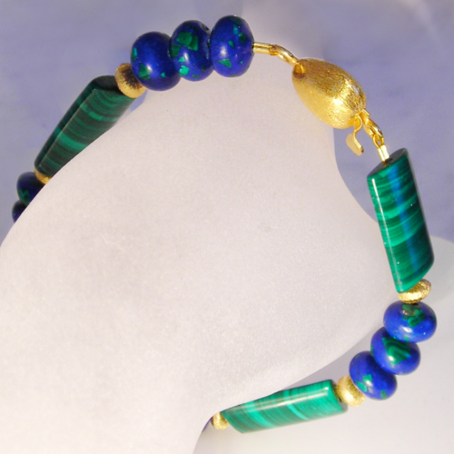 """Night Blue Green Wood"" Azurit Malachit Armband vergoldet"