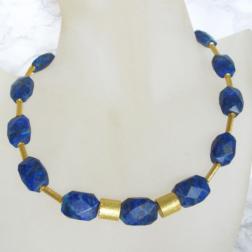 """Huge Blue Golden"" Lapis Lazuli facettiert Collier Silber vergoldet"