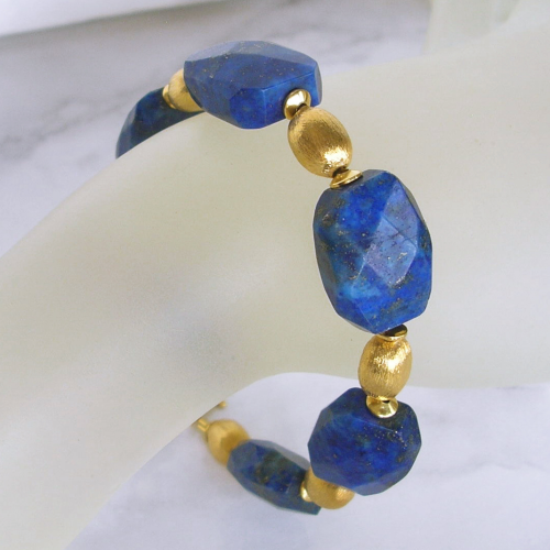 """Huge Blue Golden"" Lapis Lazuli facettiert Armband Silber vergoldet"