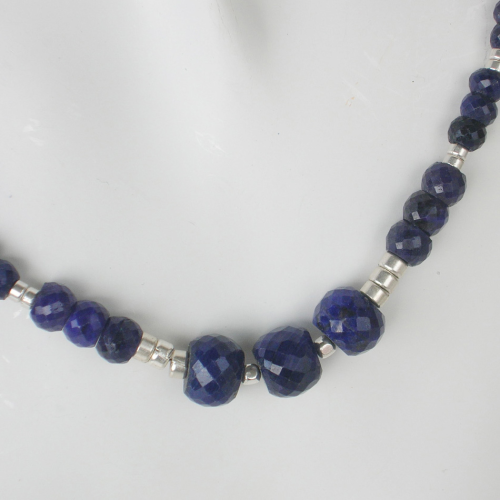 """Dark Blue"" Saphir Silber Collier"