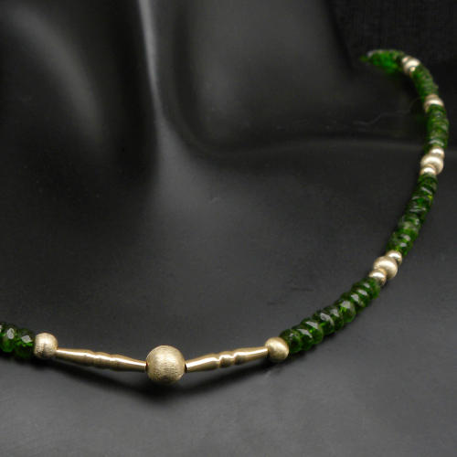 """Magic Green"" Chromdiopsid Collier 585er Gold"