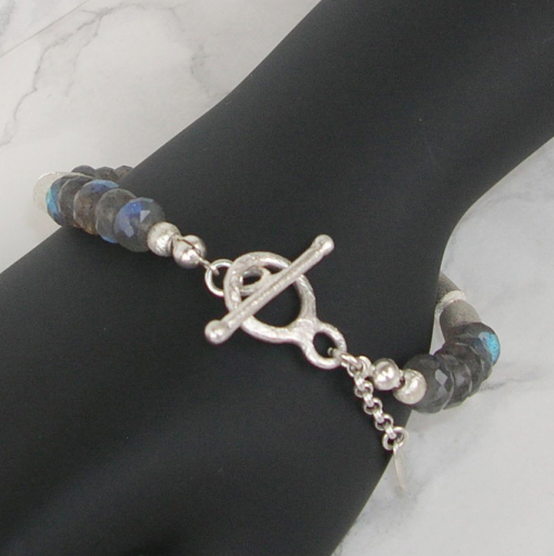 """Blue-Green Ring"" Labradorit Silber Armband"