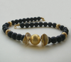 """Golden Earth In Black Night"" Onyx Collier Silber vergoldet"
