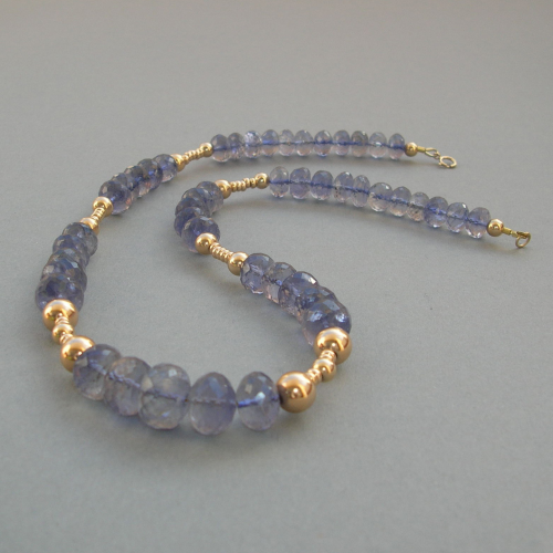 """Purple Blue Brillance"" Tansanit 585er Gold Collier"