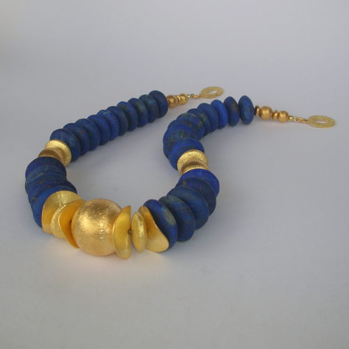 """Dark Night Golden Earth"" Lapis Lazuli Collier Silber vergoldet"