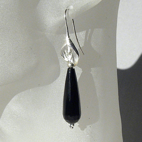 """Black Tear"" Onyx Silber Ohrringe"