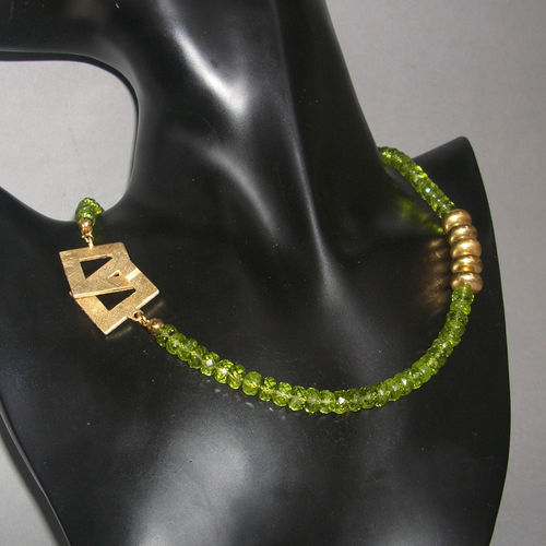 """Green Faceted Star"" Peridot Kette"