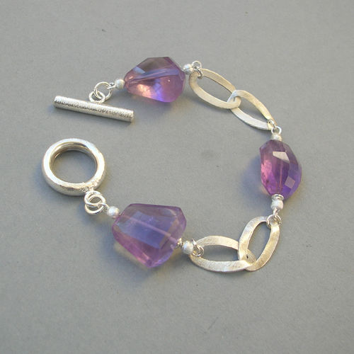 """Light Purple Crystal"" Ametrin Silber Armband"