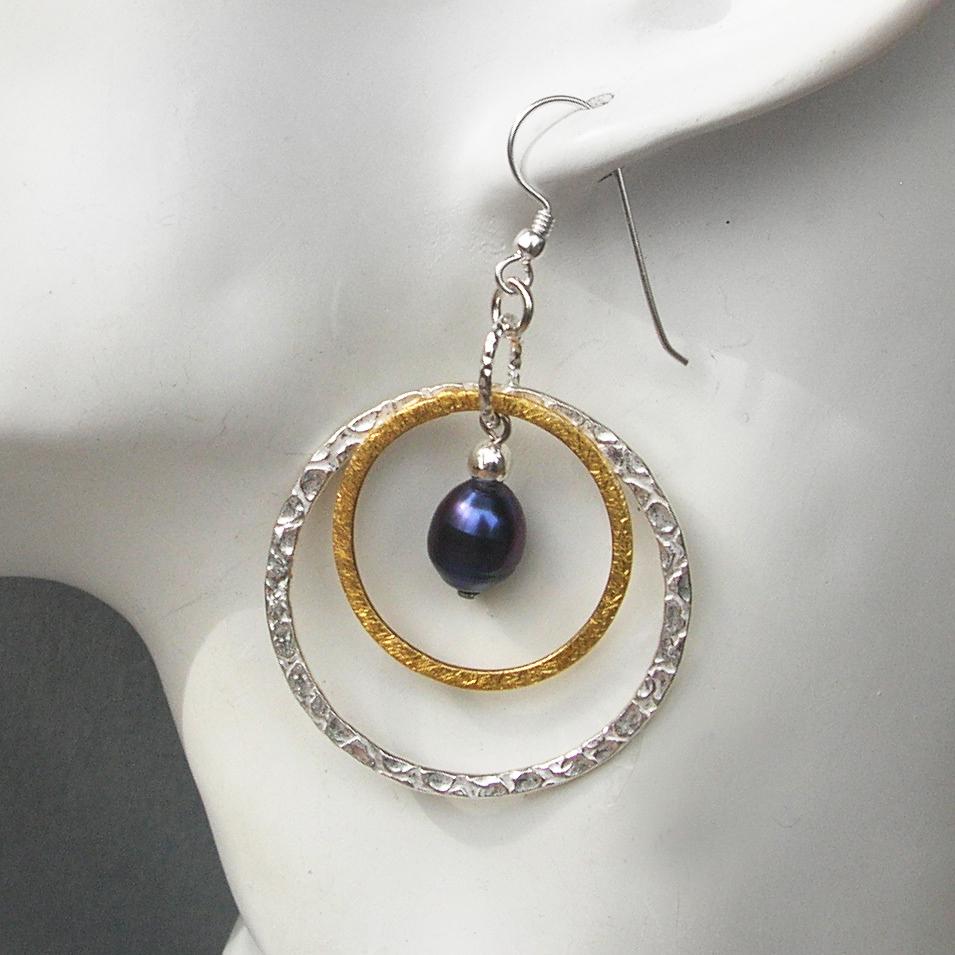 Purple Shiny Pearl Ring Perlen Silber Ohrringe Edelsteinschmuck