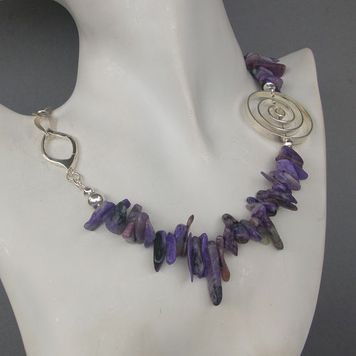 """Crazy Purple"" Charoit Silber Collier"