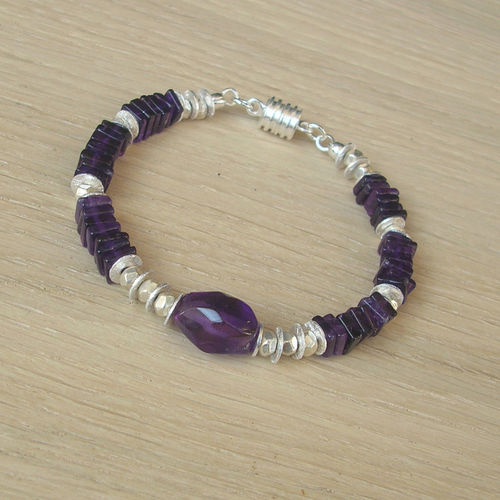 """Amazing Dark Purple"" Amethyst Silber Armband"