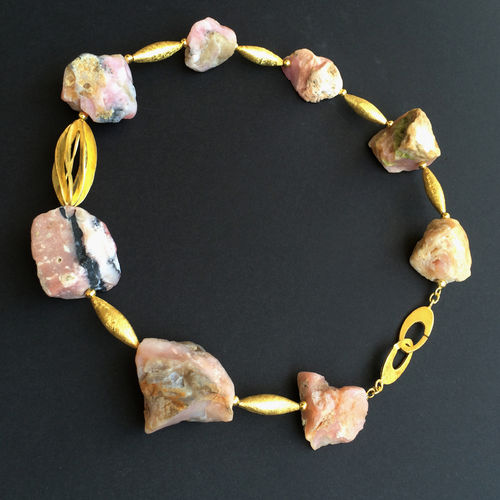 """Rose Rock"" Andenopal Kette vergoldet"