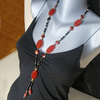 """Black Red Mystic"" Karneol Rote Tigeraugen Onyx Kette vergoldet"