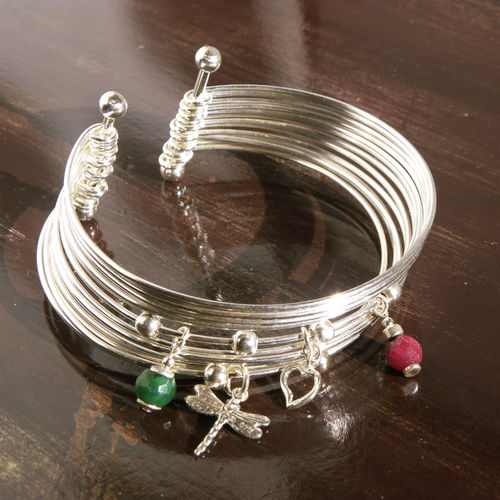 """Sweet Lucky Charm Bangle"" 13 Silberreif Charms"