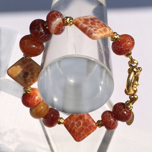 """Red Sunset"" Feuerachat Armband Silber vergoldet"